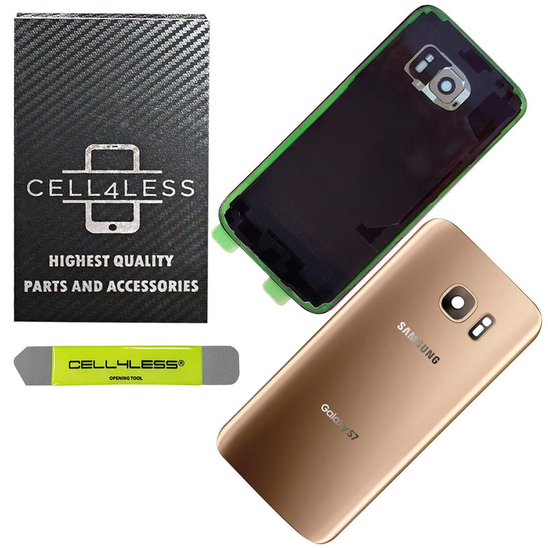 Samsung Galaxy S7 Back Glass Replacement with Camera Lens Installed - Removal Tool Included - G930 - CELL4LESS