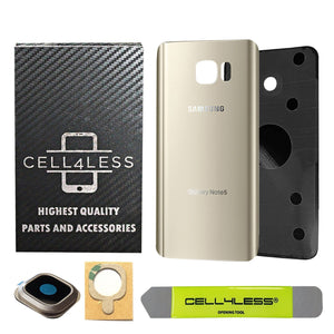 Samsung Galaxy Note 5 Back Glass Replacement with Camera Lens - Removal Tool Included - CELL4LESS