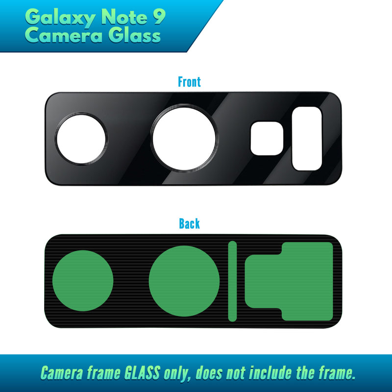 Galaxy Note 9 BLACK Replacement Camera Glass Kit for iPhone w/Removal Tools & Adhesives (2 Pack) OEM Quality HD Crystal Clear Glass DIY Kit - Fits All Carriers - CELL4LESS