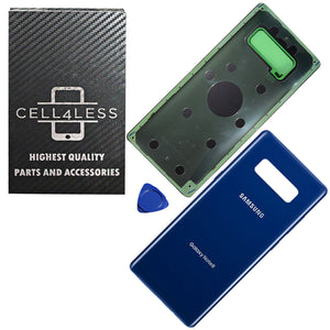 BLUE Samsung Galaxy Note 8 Back Glass Panel Replacement Battery Door Cover N950 - CELL4LESS
