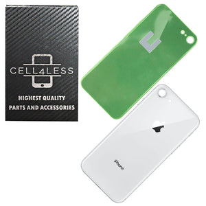 SILVER Apple iPhone X Back Glass Cover OEM Battery Door Replacement w/ Adhesive & Removal Tool - CELL4LESS