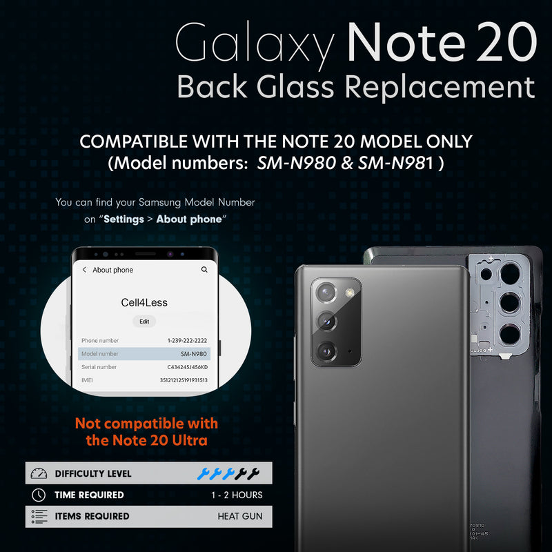 Galaxy Note 20 5G Back Glass Replacement Kit Including The Camera Lens, Removal Tool and Installed Adhesive - CELL4LESS