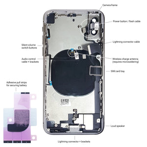 Apple iPhone X SILVER Rear Housing Midframe Assembly w/ Pre-Installed Components - CELL4LESS