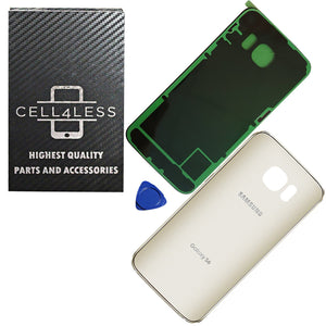 Samsung Galaxy S6 OEM Replacement Back Glass Cover Back Battery Door w/ Pre-Inst - CELL4LESS