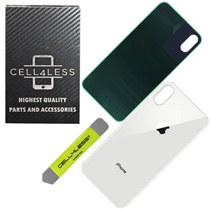 Apple iPhone XS MAX Back Glass SILVER OEM Replacement Battery Door Cover - CELL4LESS