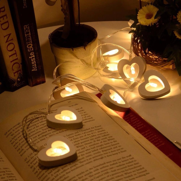 Wooden Heart-Shaped String Lights