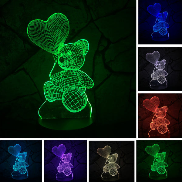 Kids Night Lights Bear with Heart Balloon LED Lamp
