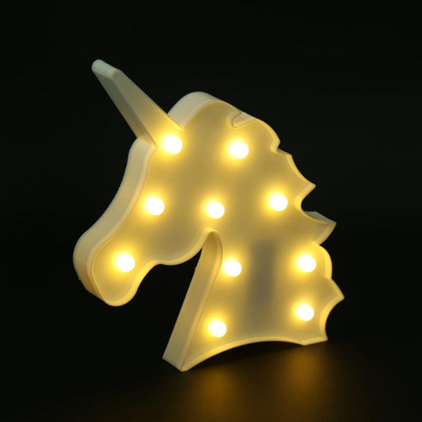 Kids Night Lights 3D Marquee Unicorn Lamp