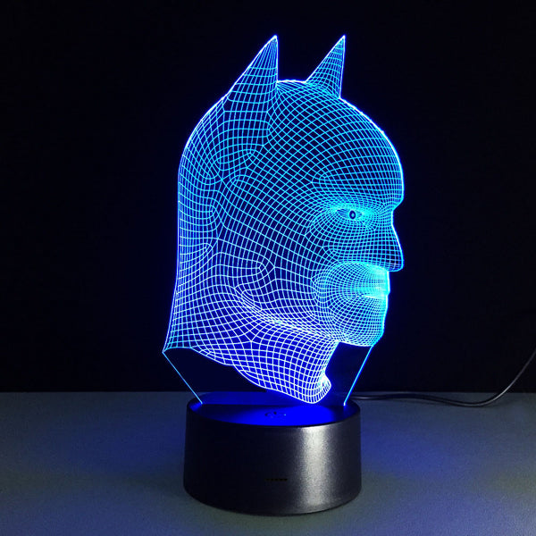 Kids Night Lights Colorful Batman Head 3D Light