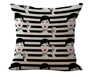 Contemporary, Stylish Fashion Lady Cushion Covers