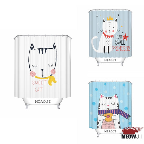 Cute Cat Print Shower Curtain
