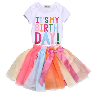 Toddler Girls Birthday T Shirt Tulle Skirt Rainbow Set Sets