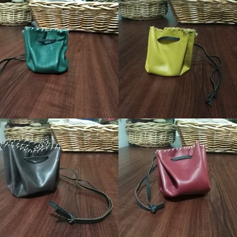 Coloured Leather Drawstring Pouch