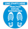 Social Distancing Floor Decal - Line Starts Here