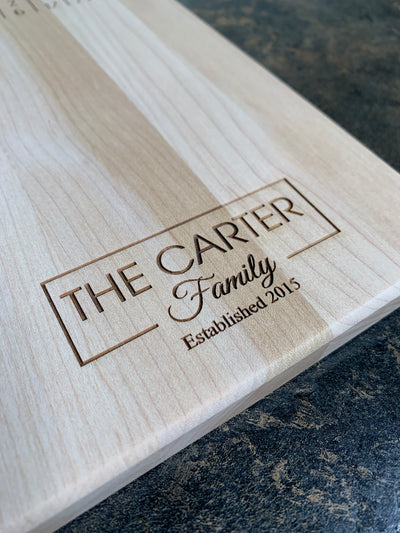 Last Name Vertical Personalized Cutting Board | Maple Cutting Board-Cut The Font