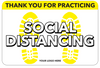 Social Distancing Floor Decal - Thank You for Practicing Shoe Print-Cut The Font