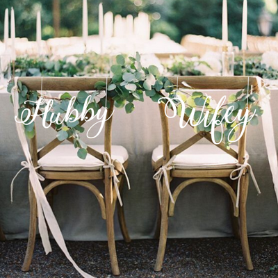 Hubby & Wifey Wedding Chair Backers-Cut The Font