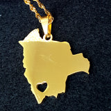 Bolivia Map Gold Color Necklace - 1st Culture
