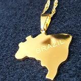 Brazil Gold Color Map Necklace - 1st Culture