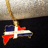 Dominican Full Color Map Necklace - 1st Culture