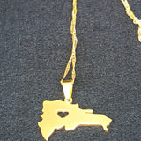 Dominican Map Gold Heart Necklace - 1st Culture