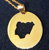 Gold Color Circle Nigeria Map Necklace - 1st Culture