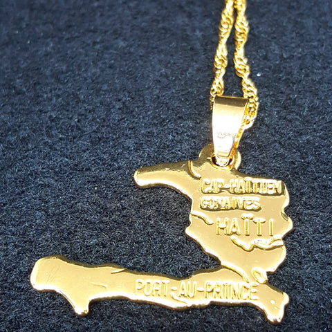 Haiti Map Yellow Gold Necklace - 1st Culture