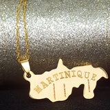 Martinique Map Gold Color Necklace - 1st Culture