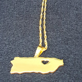 Puerto Rico Heart Map Necklace - 1st Culture
