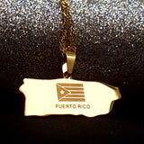 Puerto Rico Map Gold Color Necklace - 1st Culture
