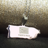 Puerto Rico Map Silver Necklace - 1st Culture