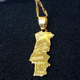 Portugal Map Gold Color Necklace - 1st Culture