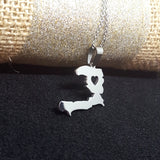 Silver Heart Haiti Map Necklace - 1st Culture