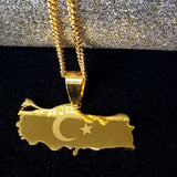 Turkey Map Gold Color Necklace - 1st Culture