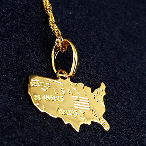 USA Map Gold Color Necklace - 1st Culture