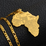 Africa Map Gold Silver Color Necklace - africa pendant necklace - africa necklace men women - africa continent necklace - africa shaped necklace