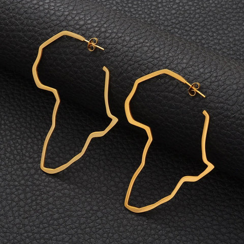 Africa Map Gold Plated Hoop Earrings - africa pendant Earrings - africa Earrings women - africa continent Earrings - africa shaped Earrings