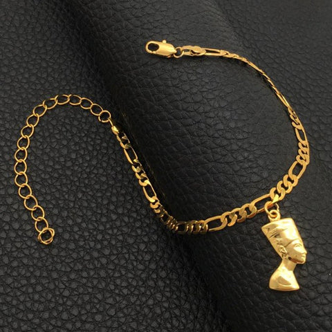Egyptian Queen Nefertiti adjustable Ankle Bracelet for Women - Egyptian Ankle Bracelet - charmed jewelry gift - Resizable fits all ankles