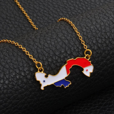Panama Gold Plated Necklace, panama necklace, panama jewelry, panama map, panama flag, panama gift