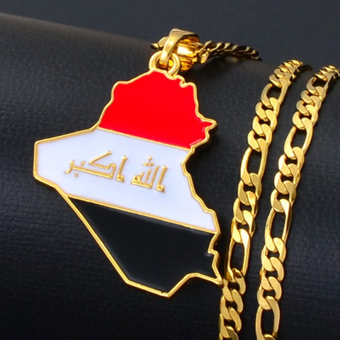 Iraq Gold Plated Necklace, Iraq jewelry, Iraq flag, Iraq necklace, Iraq earrings, Iraq map, Iraq hat, Iraq stickers, Honduras flag