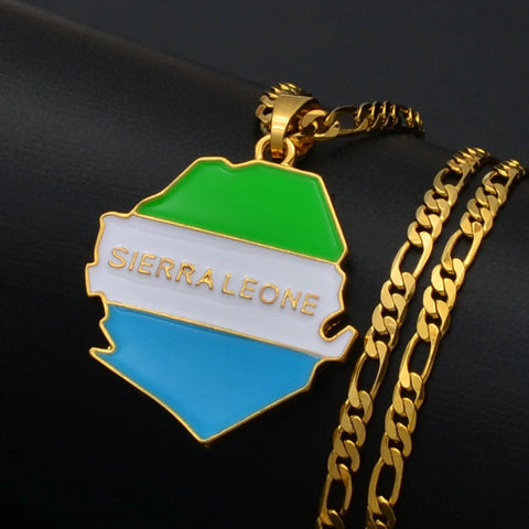 Sierra Leone Gold Plated Necklace, Sierra Leone jewelry, Sierra Leone flag, Sierra Leone necklace, Sierra Leone map,