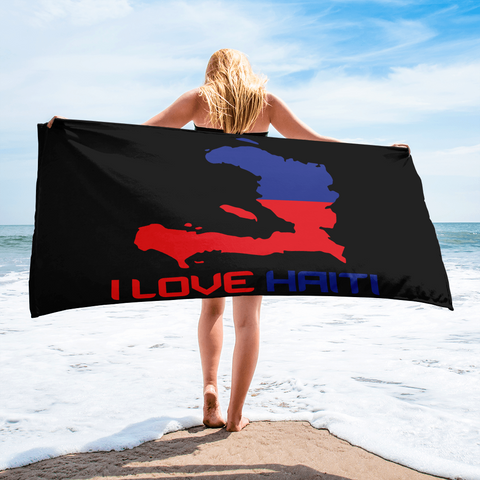 I Love Haiti Beach Towel - 1st Culture