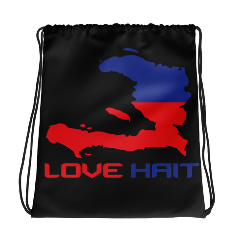 I Love Haiti Drawstring Bag Black - 1st Culture