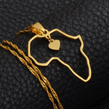 Africa Map Gold Color Heart Necklace - 1st Culture