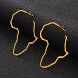 African Map Gold Color Oversize Earrings - 1st Culture