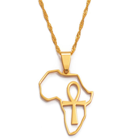 Africa Map & Ankh Necklace - 1st Culture