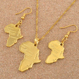 Africa Map Gold Color Necklace Earrings Set - 1st Culture