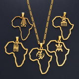 African Map & Cultural Symbol Necklaces - 1st Culture