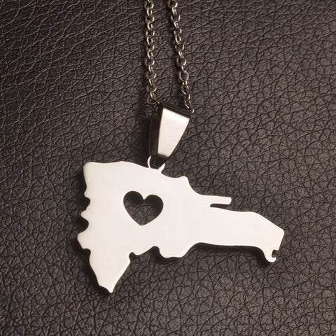 Dominican Map Silver Heart Necklace - 1st Culture