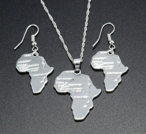 Africa Map Silver Color Necklace Earrings Set - 1st Culture
